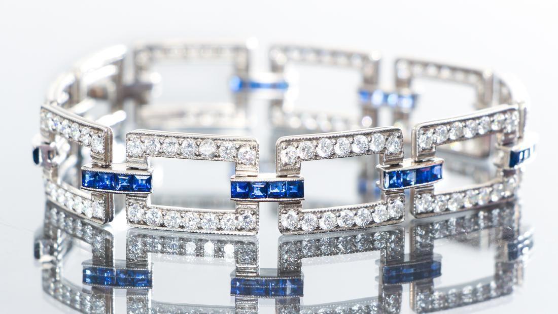 McTeigue and Co Art Deco Diamond Sapphire Bracelet
