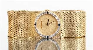 14 K Gold Diamond and Sapphire Longines Wristwatch