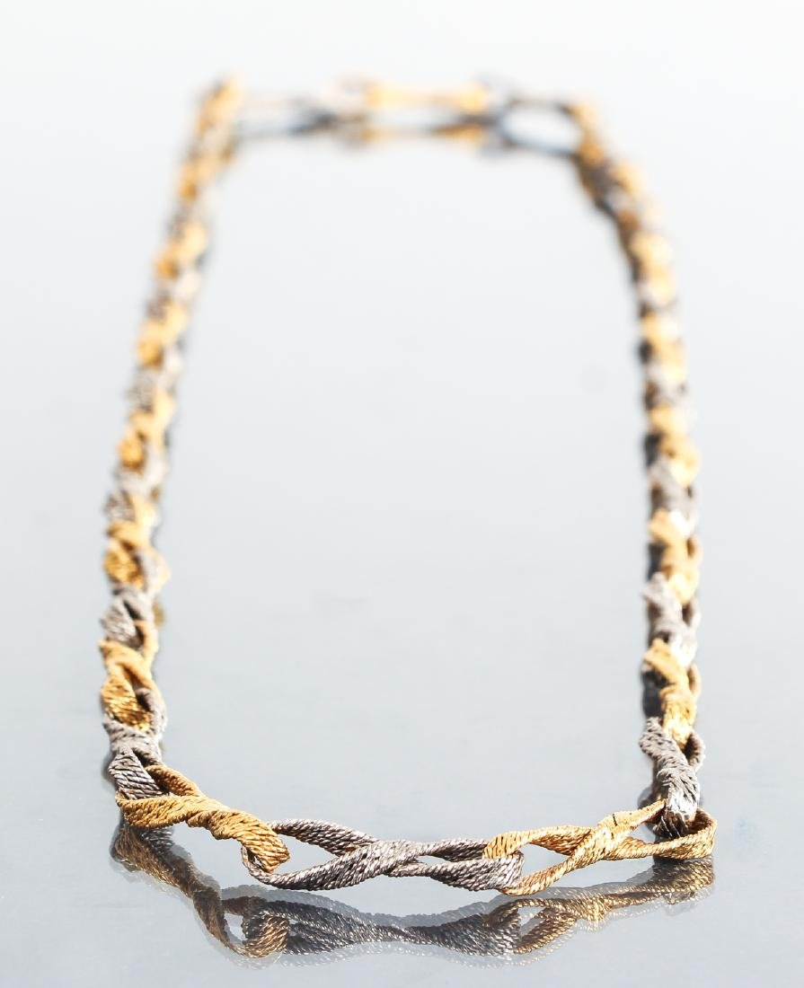 18 K White and 14 K Yellow Gold Link Necklace
