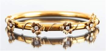 14 K Gold and Diamond Victorian Bracelet