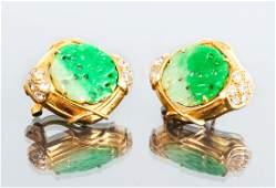 18 K Gold Diamond and Jadeite Earrings