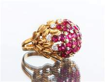 18 K Gold Ruby and Diamond Ring