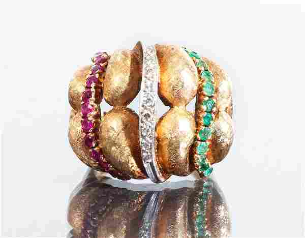 14 K Gold Diamond Sapphire and Emerald Ring