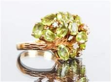 14 K Gold Diamond and Peridot Ring