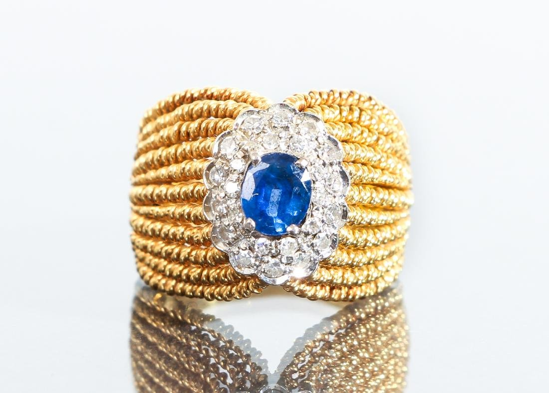 14 K Gold Sapphire and Diamond Ring