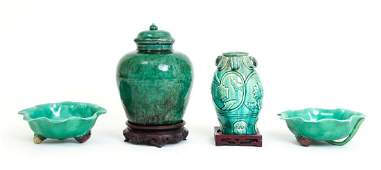 Four Pieces of Green Glazed Chinese Pottery