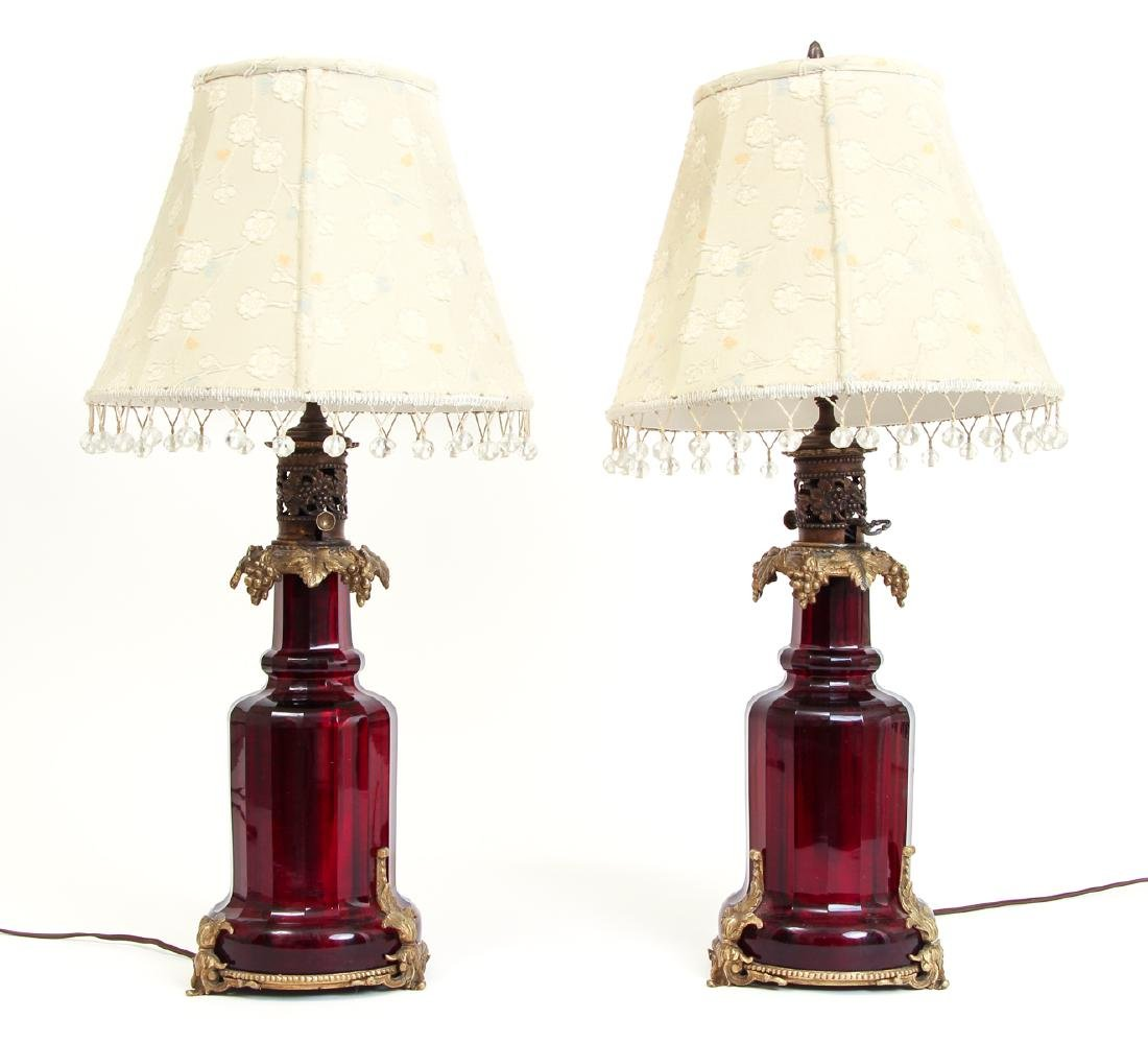 Glass Cranberry 28 Electric Lamp with