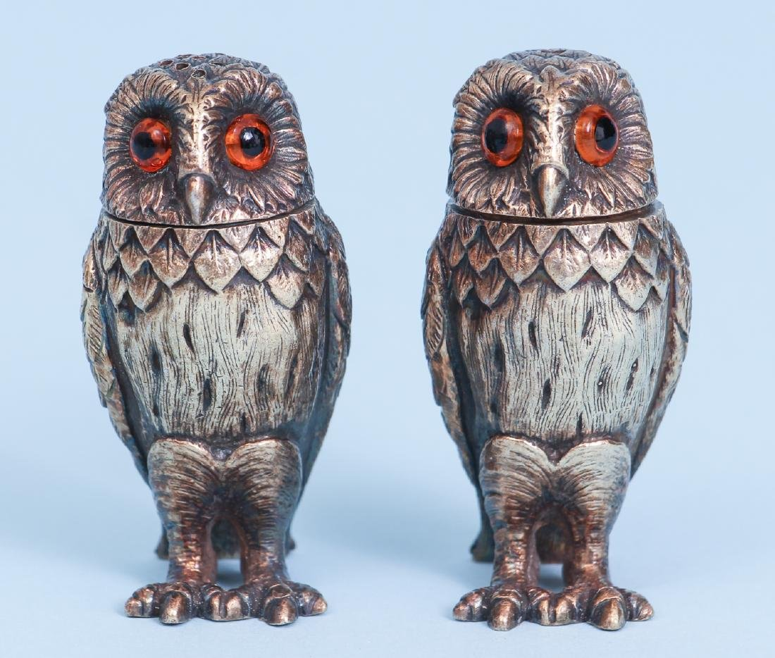 Tiffany Sterling Silver Owl Salt and Pepper Shakers
