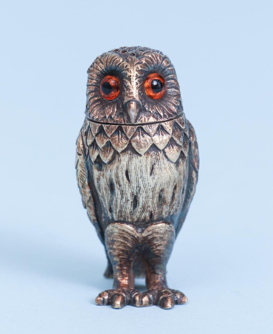 Tiffany Sterling Silver Owl Salt and Pepper Shakers - 2