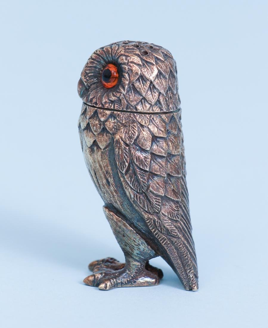 Tiffany Sterling Silver Owl Salt and Pepper Shakers - 3