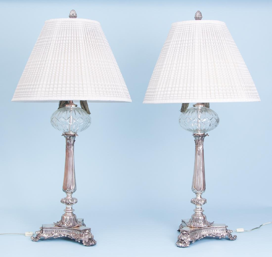 2 Silverplated and Crystal Lamps