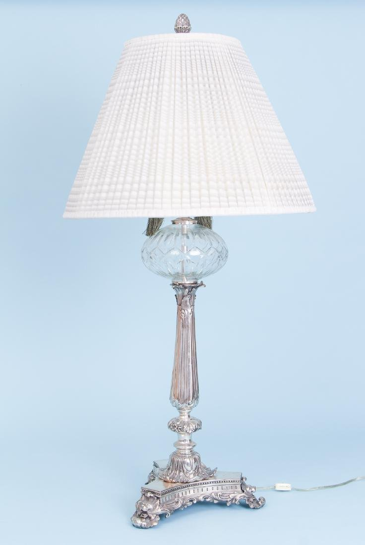 2 Silverplated and Crystal Lamps - 2