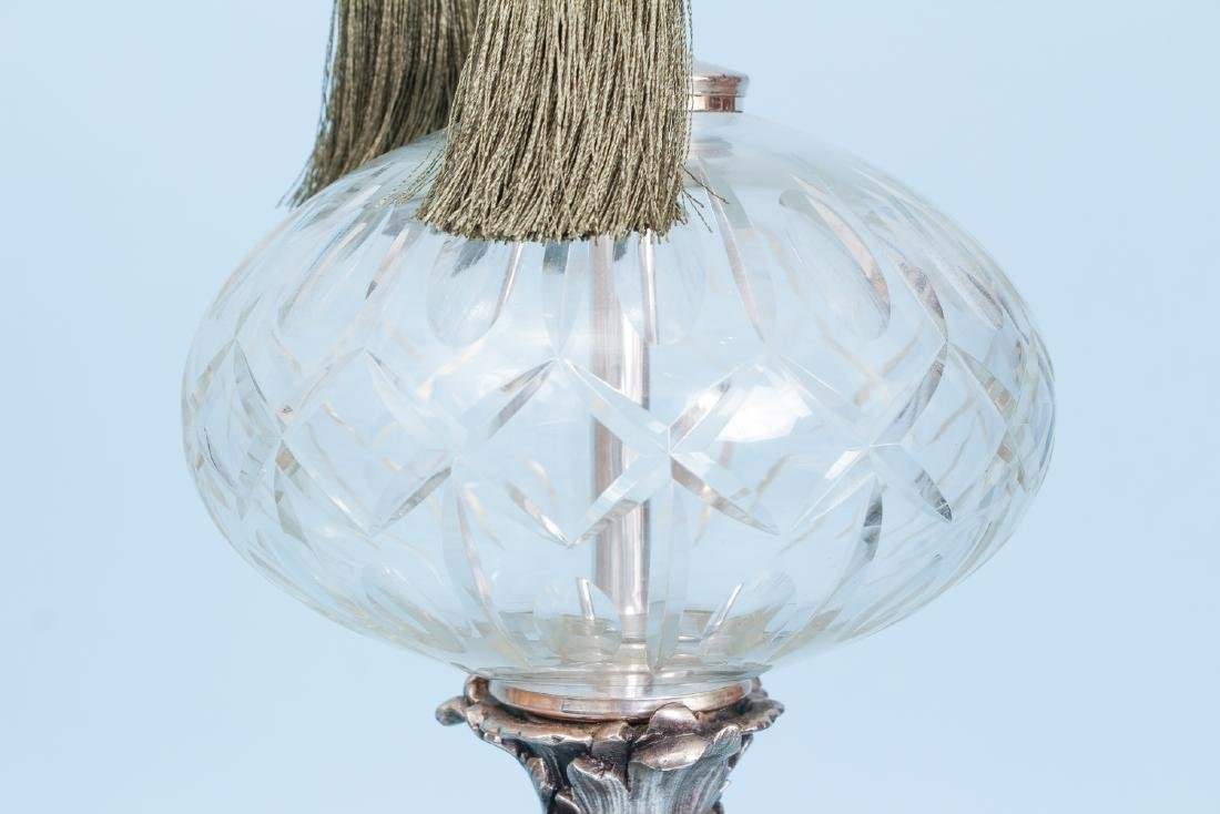 2 Silverplated and Crystal Lamps - 6
