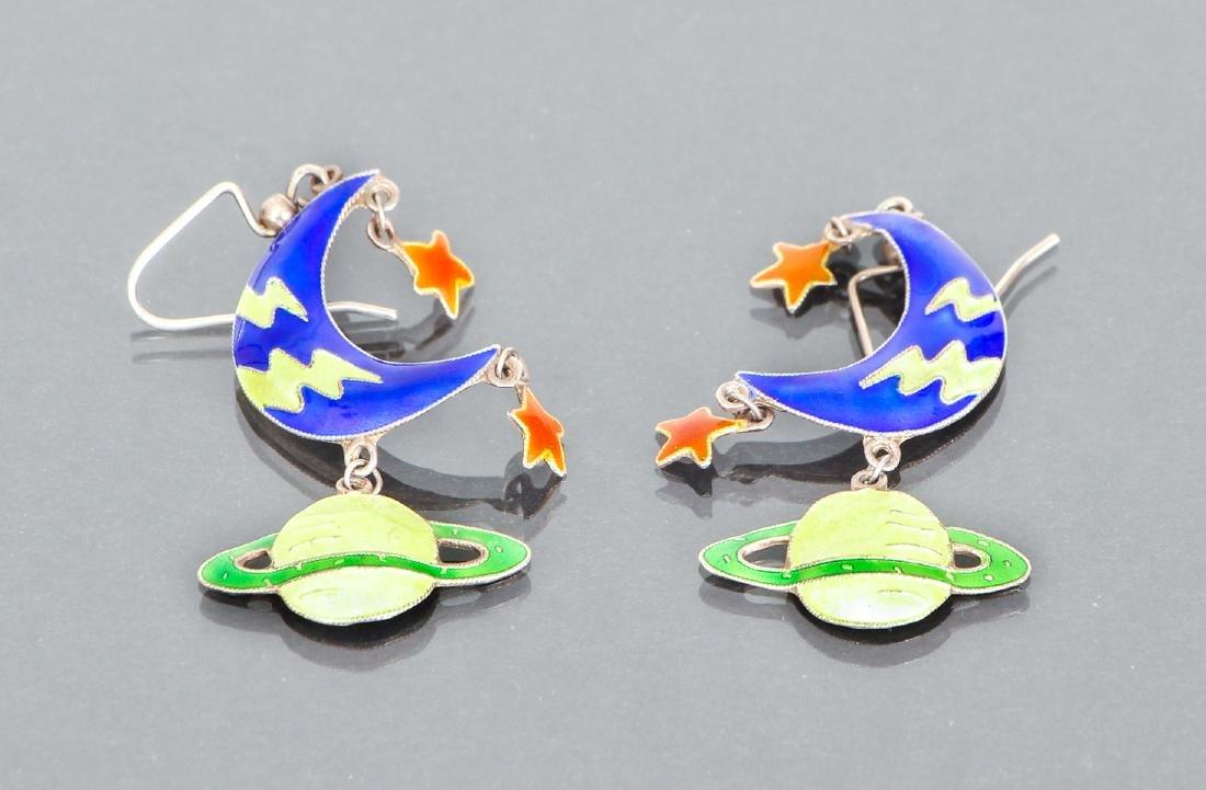 Sterling and Enamel Celestial Earrings