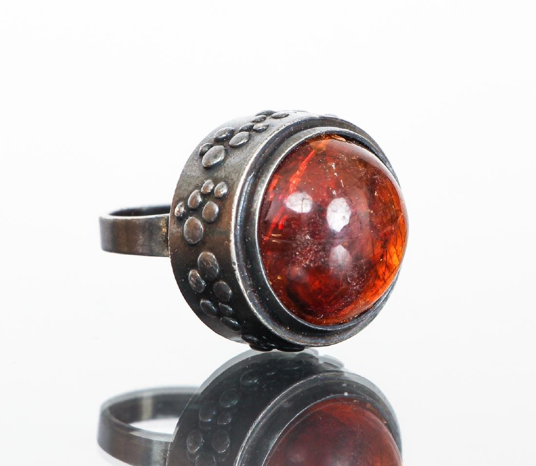 Eric Granit Signed Sterling Silver and Amber Ring
