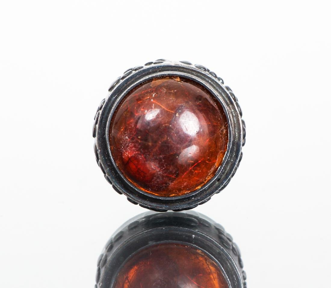 Eric Granit Signed Sterling Silver and Amber Ring - 2
