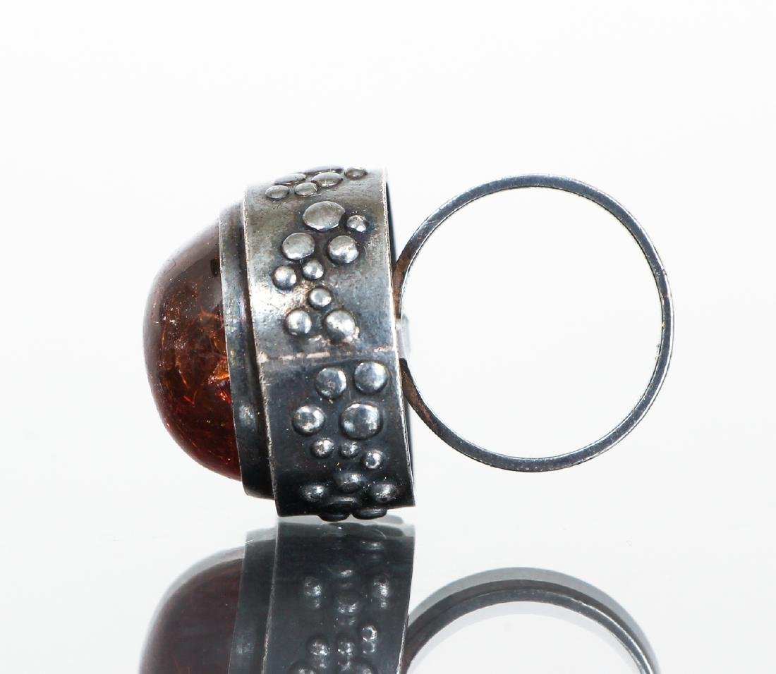 Eric Granit Signed Sterling Silver and Amber Ring - 3