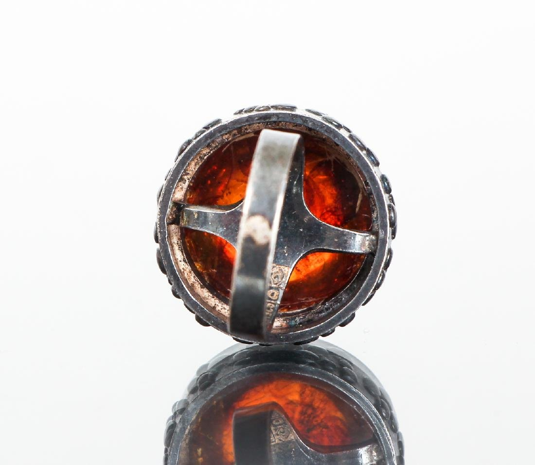 Eric Granit Signed Sterling Silver and Amber Ring - 4