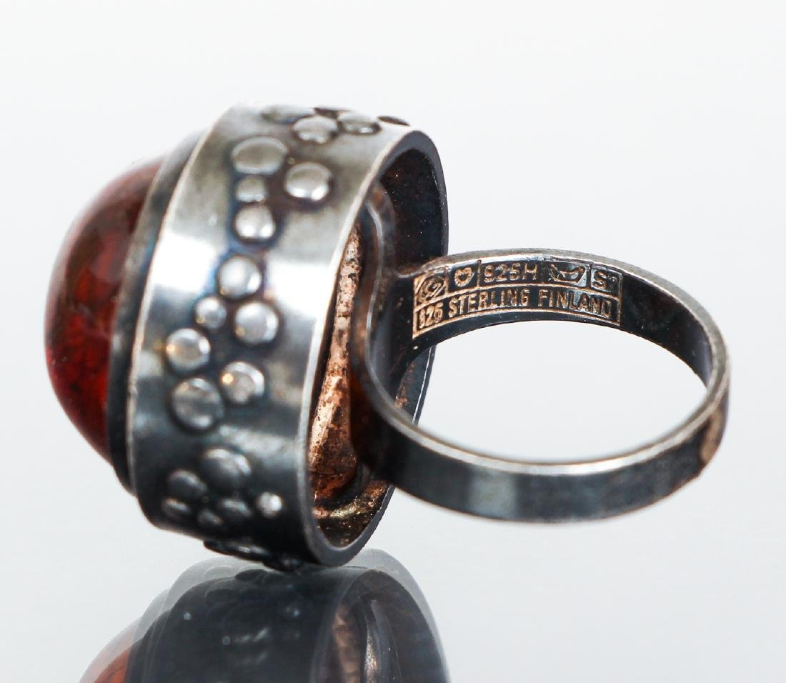 Eric Granit Signed Sterling Silver and Amber Ring - 5