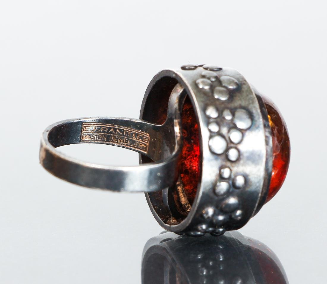 Eric Granit Signed Sterling Silver and Amber Ring - 6