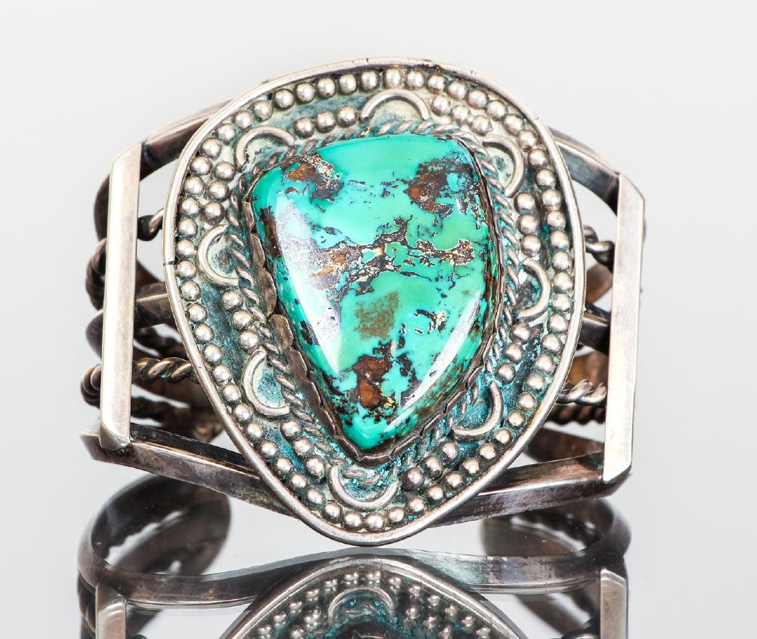 Wide Navajo Style Turquoise Bracelet Unmarked