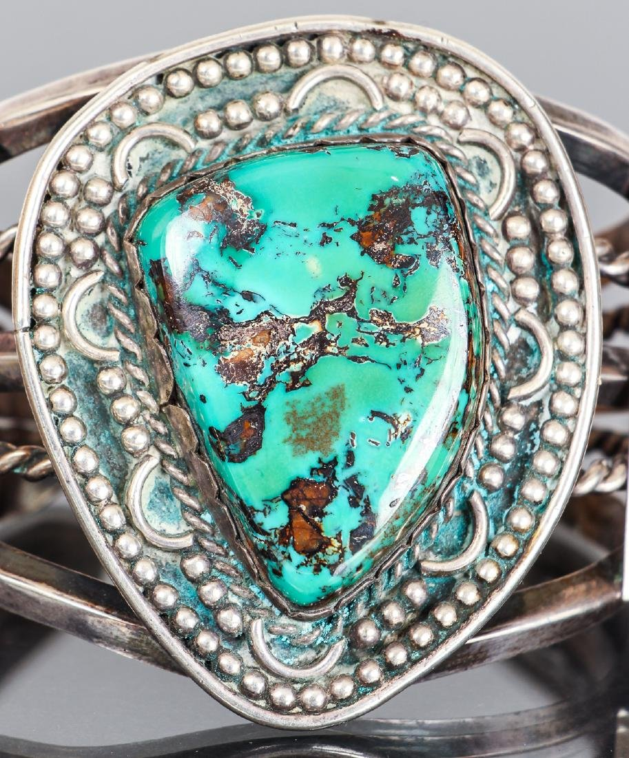 Wide Navajo Style Turquoise Bracelet Unmarked - 5