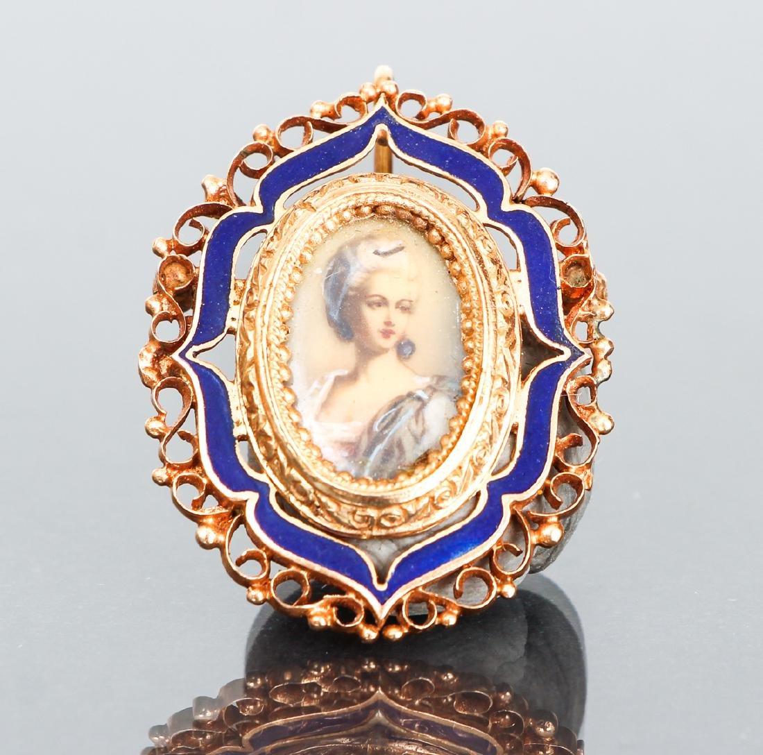 Antique 14K Enamel Marie Antoinette Portrait Pin