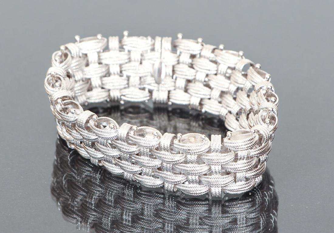 Italian Sterling Mesh Basket Weave Bracelet - 4