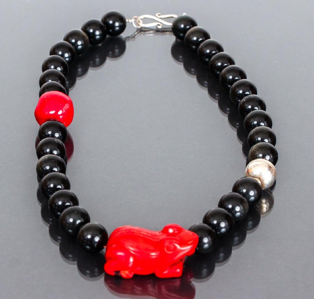 Sterling, Carnelian and Onyx Necklace - 2
