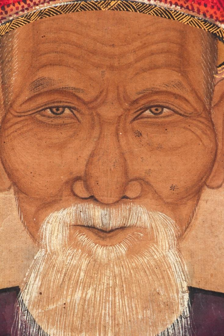 Antique Chinese Ancestor Portrait Watercolor - 3