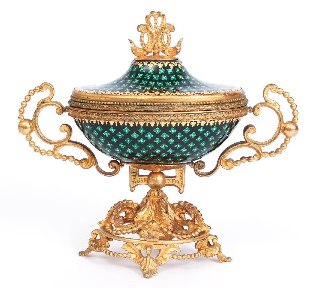 French Tahan Enamel and Gilt Bronze Jewelry Box