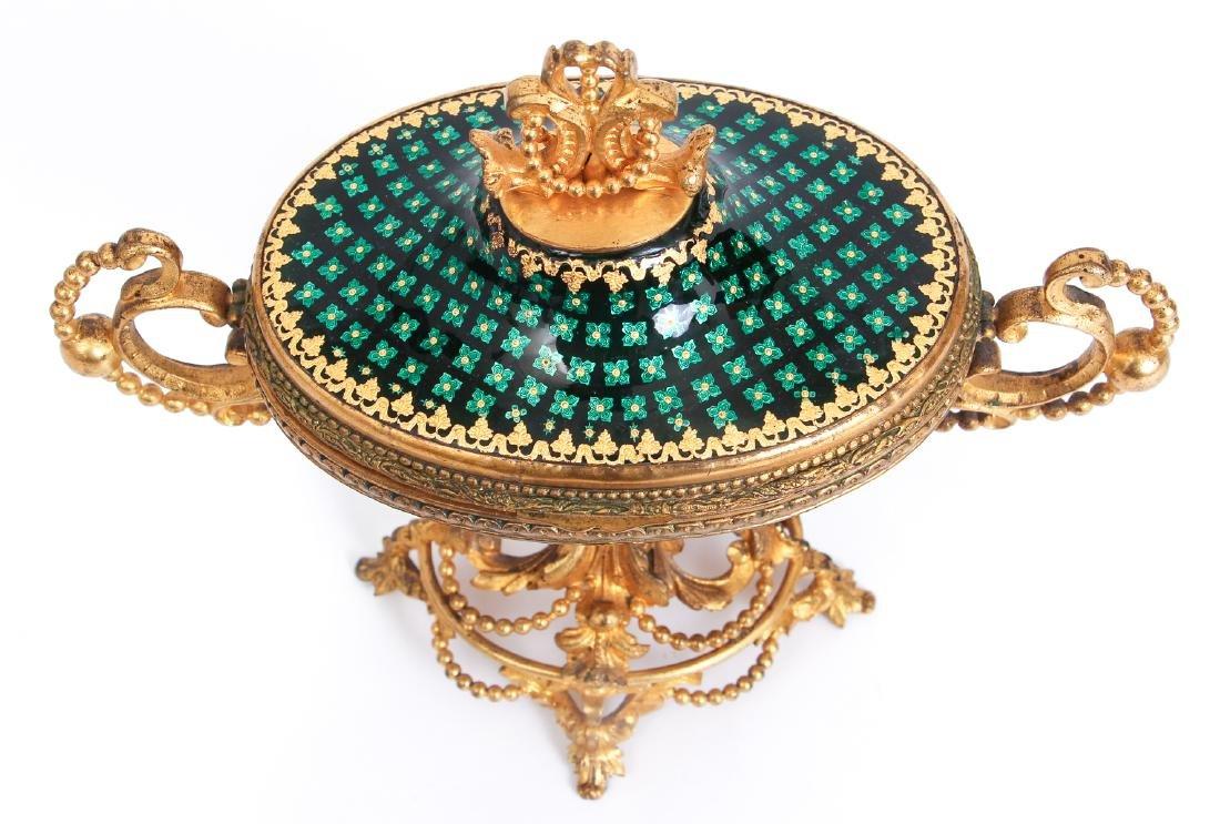 French Tahan Enamel and Gilt Bronze Jewelry Box - 2