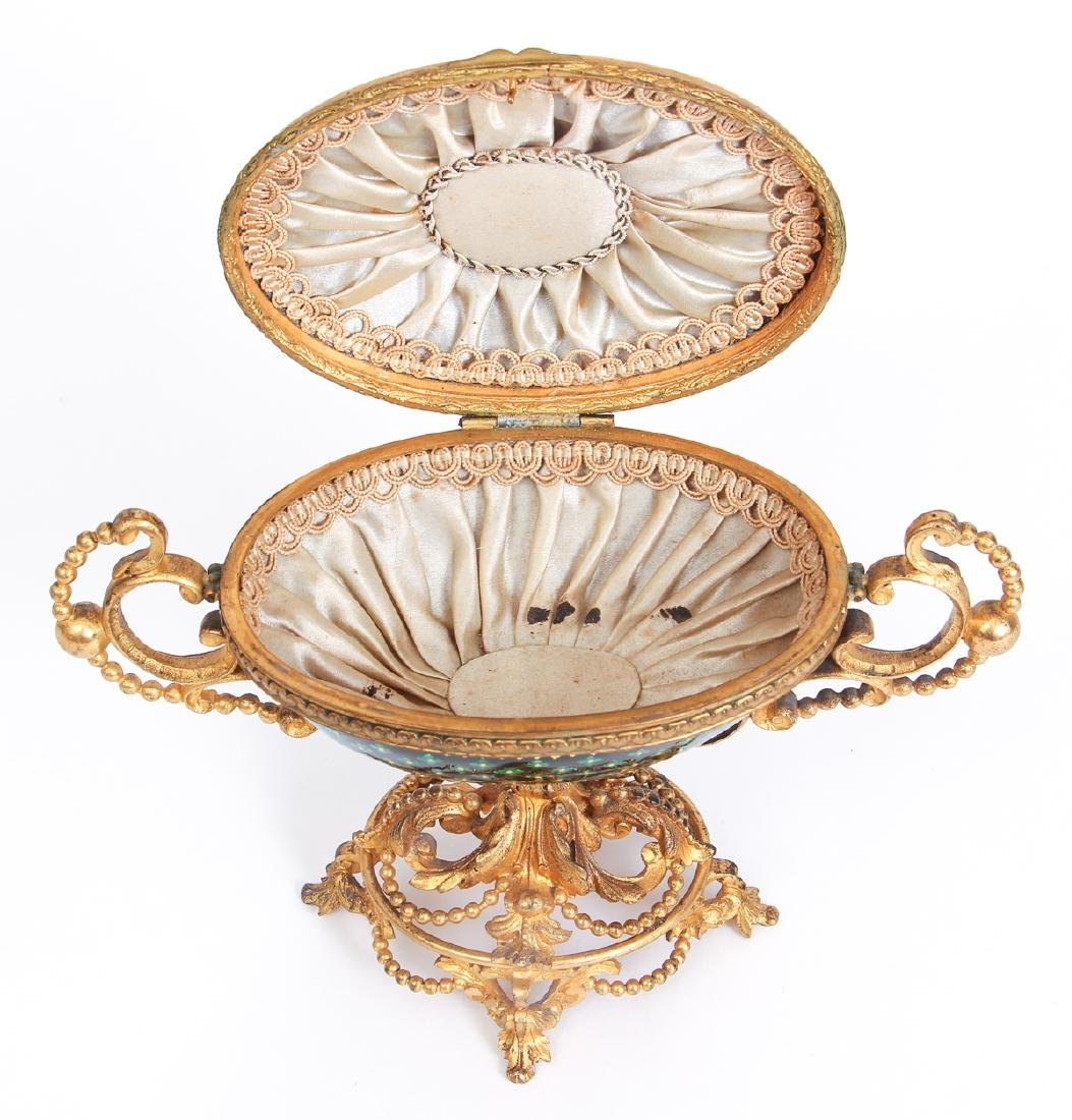 French Tahan Enamel and Gilt Bronze Jewelry Box - 3