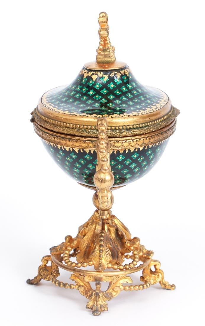 French Tahan Enamel and Gilt Bronze Jewelry Box - 4