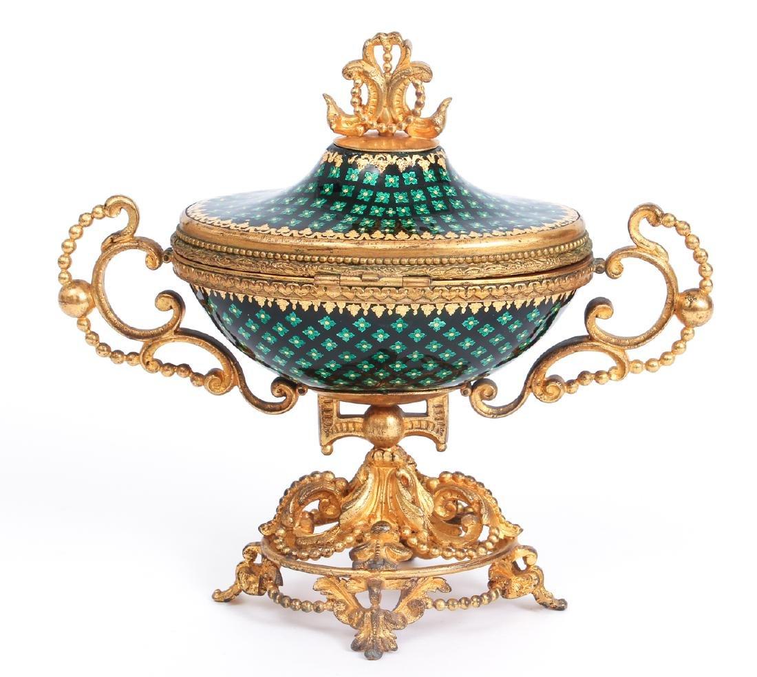 French Tahan Enamel and Gilt Bronze Jewelry Box - 5