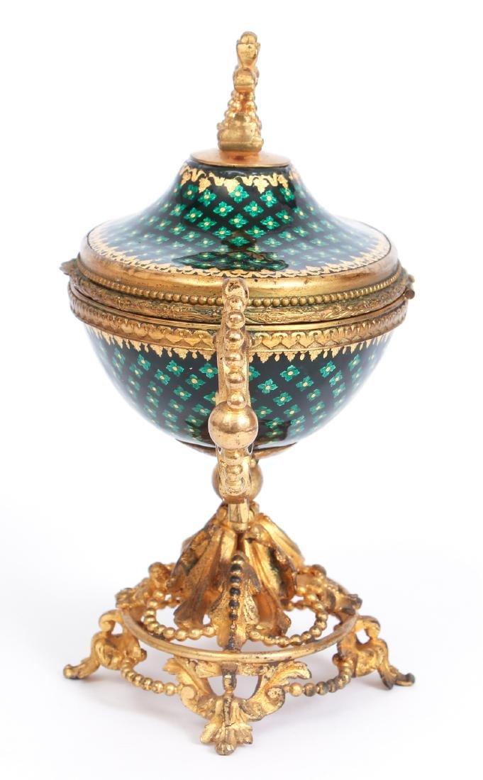 French Tahan Enamel and Gilt Bronze Jewelry Box - 6