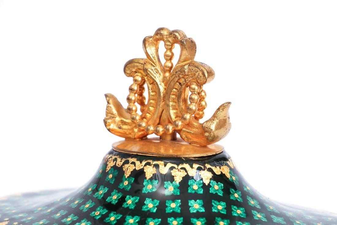 French Tahan Enamel and Gilt Bronze Jewelry Box - 7