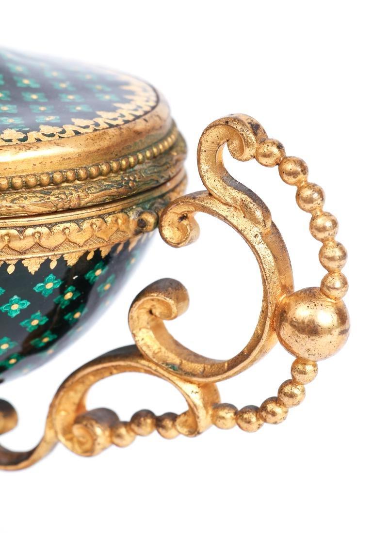 French Tahan Enamel and Gilt Bronze Jewelry Box - 8