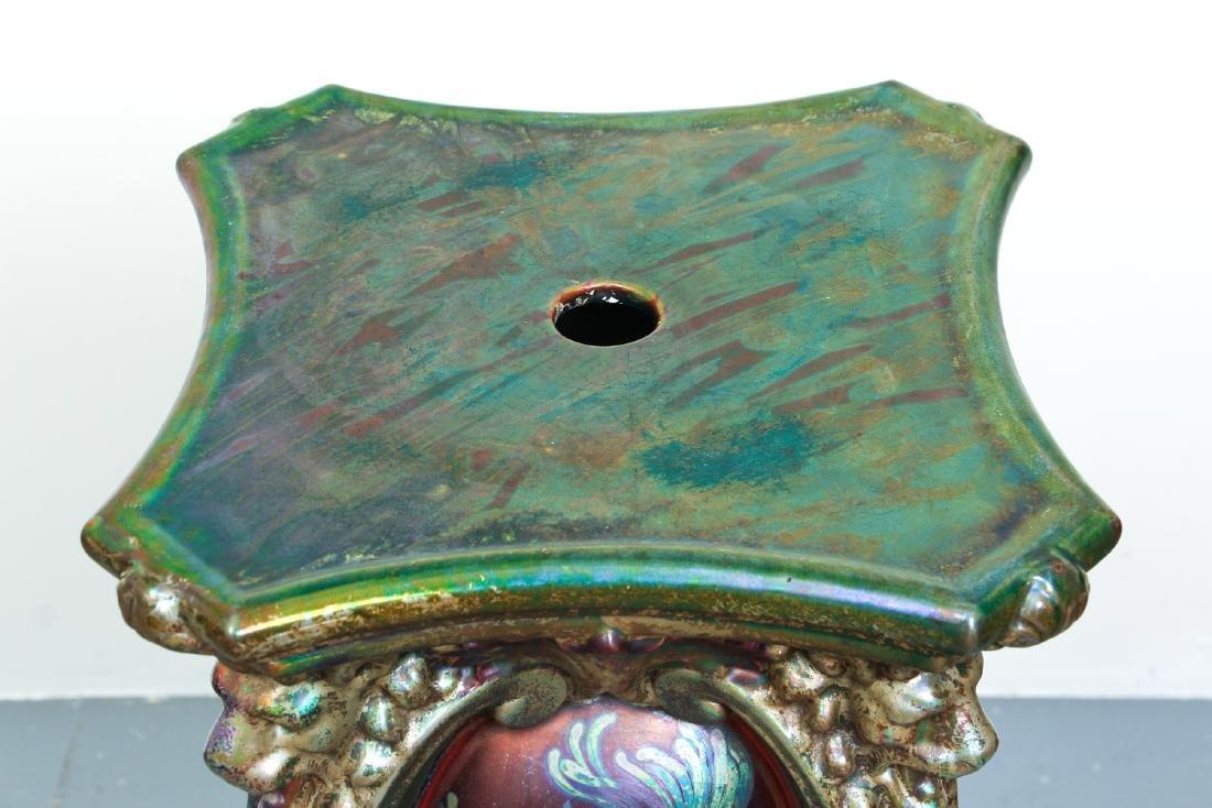 Monumental Weller Sicard Art Nouveau Pottery Pedestal - 3