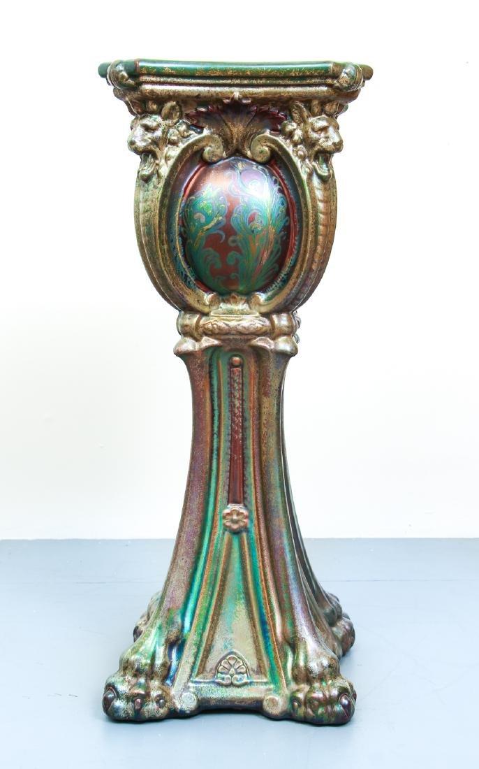 Monumental Weller Sicard Art Nouveau Pottery Pedestal - 6