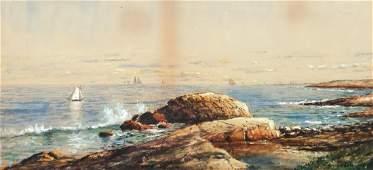 Edmund Darch Lewis Rocky Seascape Watercolor