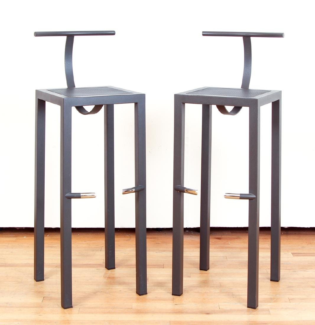 Pair Philippe Starck Black Enamel and Chrome Bar Stools
