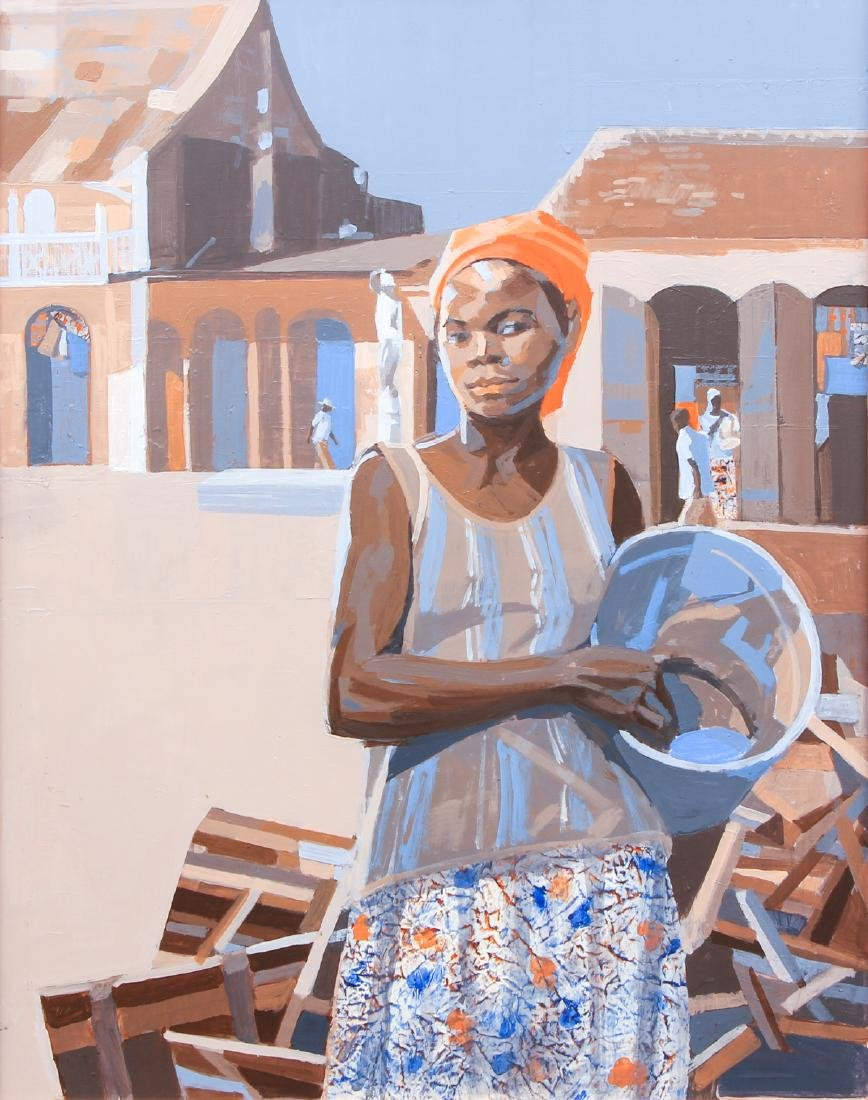Ernest Crichlow Haitian Noon Oil Painting