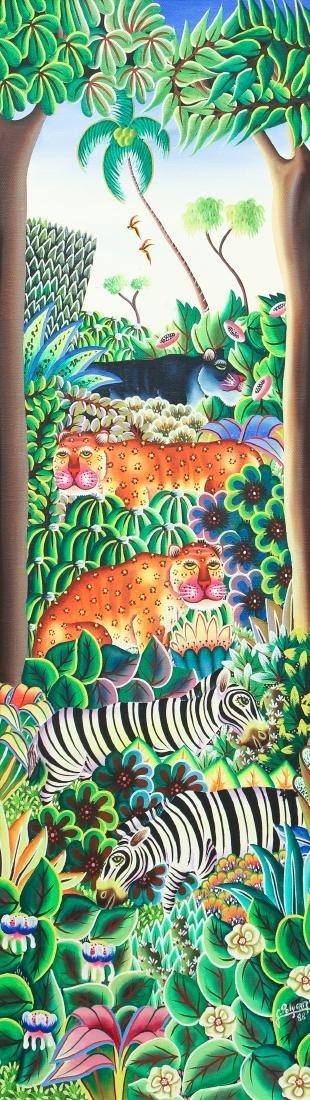 Jerome Polycarpe Haitian Jungle Scene 1982 ptg