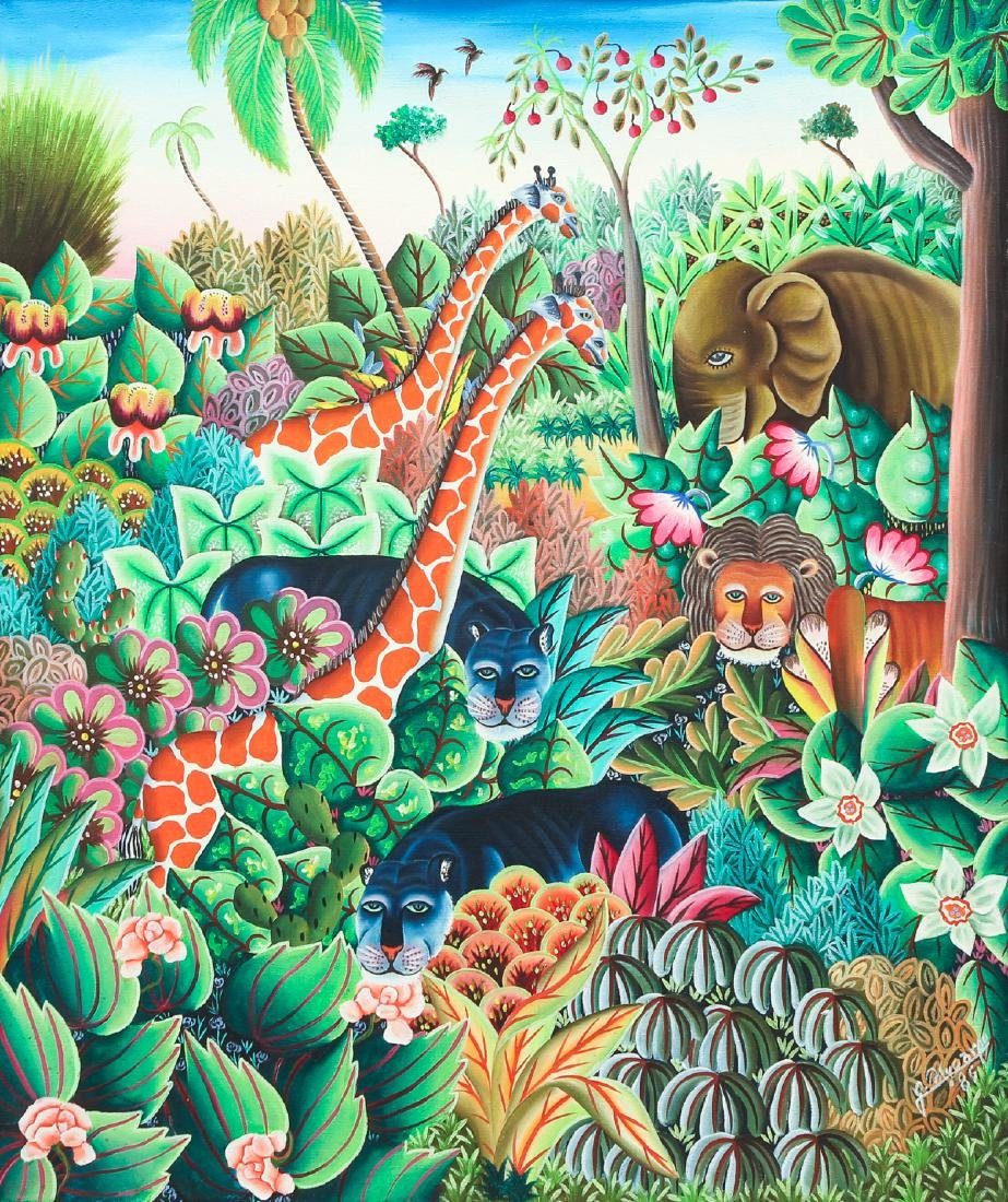 Jerome Polycarpe Haitian Jungle Scene 1986 ptg