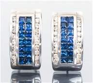 Pair Diamond and Sapphire Earrings