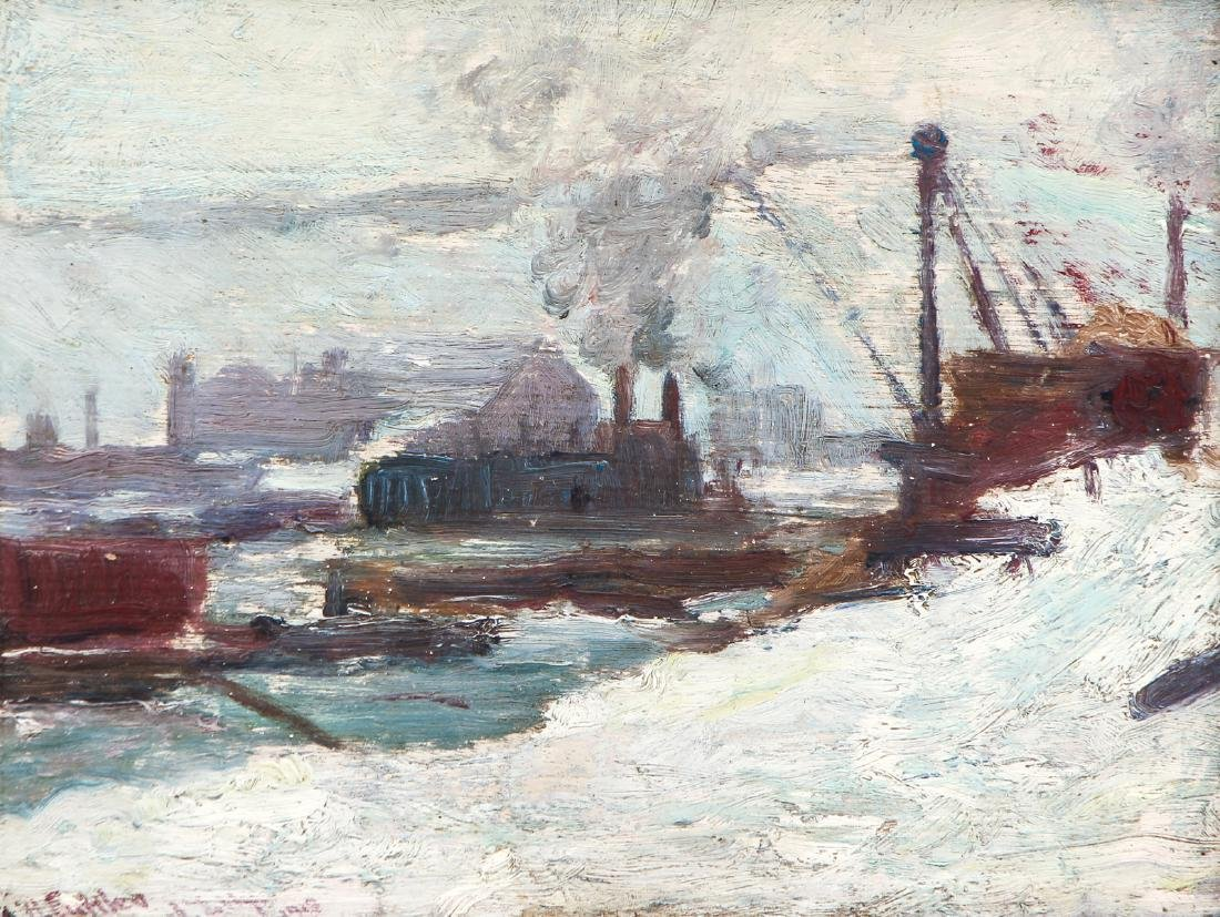 Will Hyett 1918 ptg. View of Exposition Hall in Winter