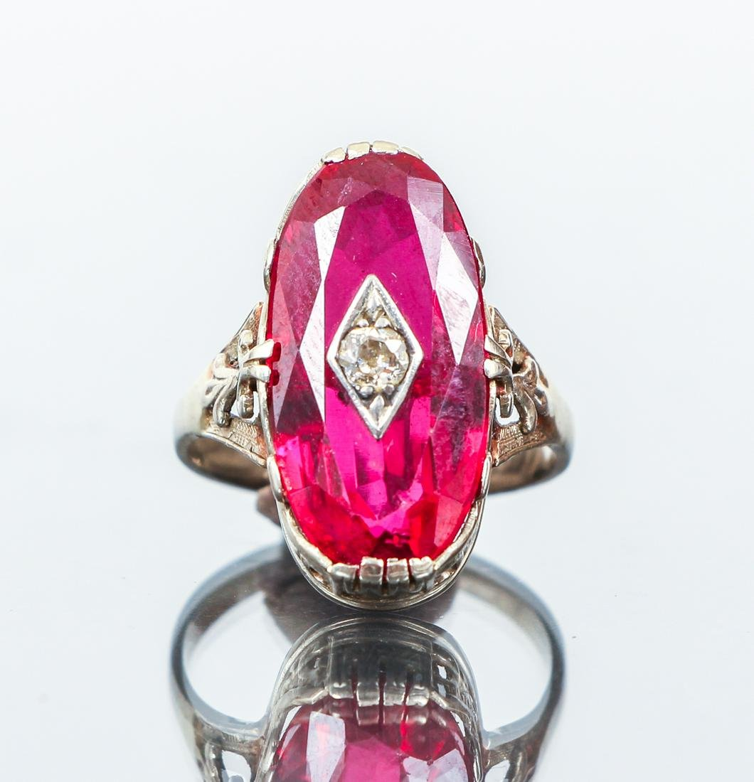 14 K Synthetic Ruby and Diamond Art Deco Ring