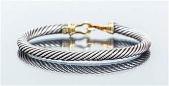 David Yurman 14 K and Sterling Cable Bracelet