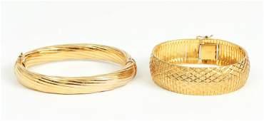 2 Italy Signed Vermeil 18 K Sterling Bangle Bracelets